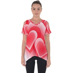 Heart Love Romantic Art Abstract Cut Out Side Drop Tee