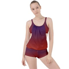 Course Colorful Pattern Abstract Boyleg Tankini Set