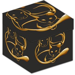 Gold Dog Cat Animal Jewel Dor¨| Storage Stool 12