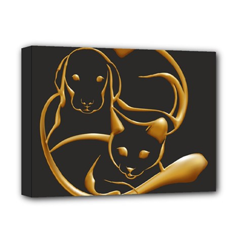Gold Dog Cat Animal Jewel Dor¨| Deluxe Canvas 16  X 12