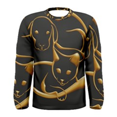 Gold Dog Cat Animal Jewel Dor¨| Men s Long Sleeve Tee