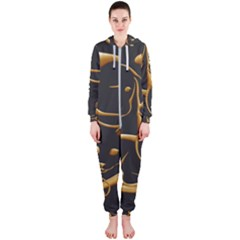 Gold Dog Cat Animal Jewel Dor¨| Hooded Jumpsuit (ladies)