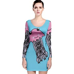 Jellyfish Cute Illustration Cartoon Long Sleeve Velvet Bodycon Dress
