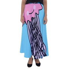 Jellyfish Cute Illustration Cartoon Flared Maxi Skirt