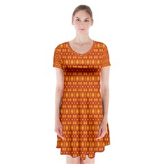 Pattern Creative Background Short Sleeve V Neck Flare Dress