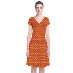 Pattern Creative Background Short Sleeve Front Wrap Dress
