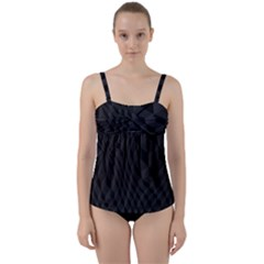 Pattern Dark Black Texture Background Twist Front Tankini Set