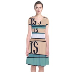 Love Sign Romantic Abstract Short Sleeve Front Wrap Dress