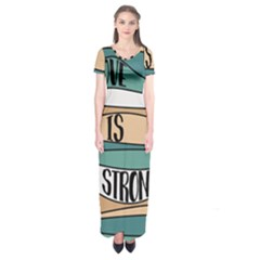 Love Sign Romantic Abstract Short Sleeve Maxi Dress