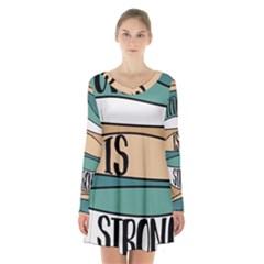 Love Sign Romantic Abstract Long Sleeve Velvet V Neck Dress