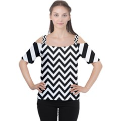 Wave Background Fashion Cutout Shoulder Tee