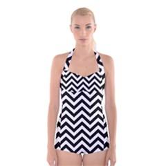 Wave Background Fashion Boyleg Halter Swimsuit