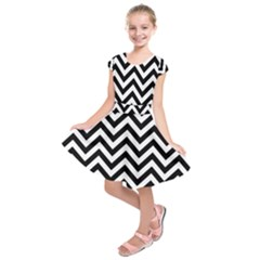 Wave Background Fashion Kids  Short Sleeve Dress