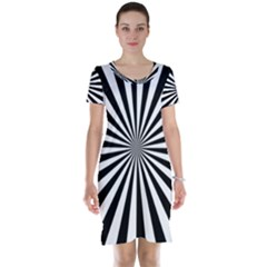 Rays Stripes Ray Laser Background Short Sleeve Nightdress