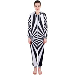 Rays Stripes Ray Laser Background Hooded Jumpsuit (ladies)