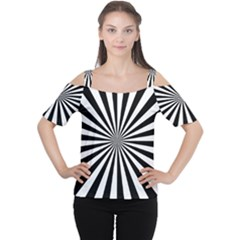 Rays Stripes Ray Laser Background Cutout Shoulder Tee