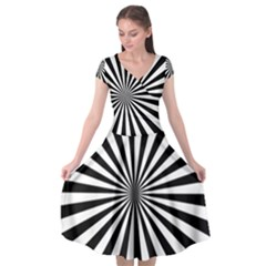 Rays Stripes Ray Laser Background Cap Sleeve Wrap Front Dress