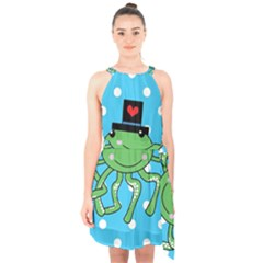 Octopus Sea Animal Ocean Marine Halter Collar Waist Tie Chiffon Dress by Nexatart