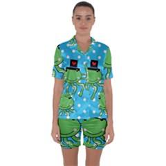 Octopus Sea Animal Ocean Marine Satin Short Sleeve Pyjamas Set