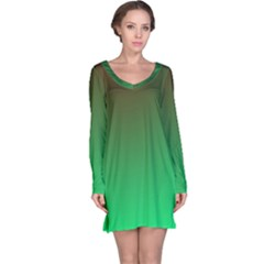 Course Colorful Pattern Abstract Green Long Sleeve Nightdress