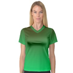 Course Colorful Pattern Abstract Green V Neck Sport Mesh Tee