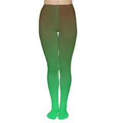 Course Colorful Pattern Abstract Green Women s Tights