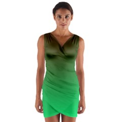 Course Colorful Pattern Abstract Green Wrap Front Bodycon Dress
