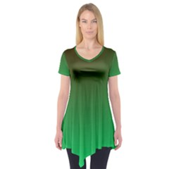 Course Colorful Pattern Abstract Green Short Sleeve Tunic