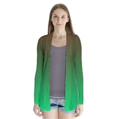 Course Colorful Pattern Abstract Green Drape Collar Cardigan