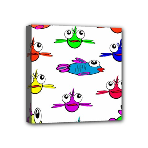 Fish Swim Cartoon Funny Cute Mini Canvas 4  X 4