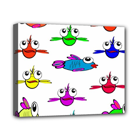Fish Swim Cartoon Funny Cute Canvas 10  X 8
