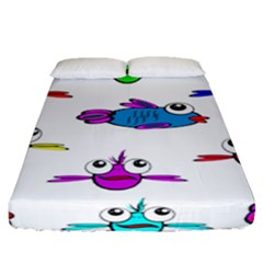 Fish Swim Cartoon Funny Cute Fitted Sheet (queen Size) by Nexatart