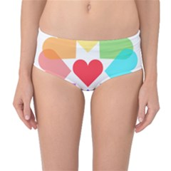 Heart Love Romance Romantic Mid Waist Bikini Bottoms