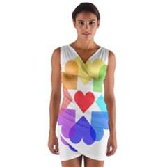 Heart Love Romance Romantic Wrap Front Bodycon Dress