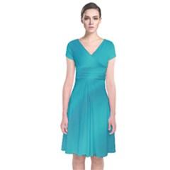 Background Image Background Colorful Short Sleeve Front Wrap Dress
