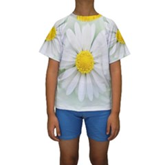Art Daisy Flower Art Flower Deco Kids  Short Sleeve Swimwear