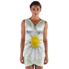 Art Daisy Flower Art Flower Deco Wrap Front Bodycon Dress