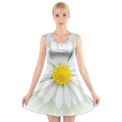 Art Daisy Flower Art Flower Deco V Neck Sleeveless Skater Dress