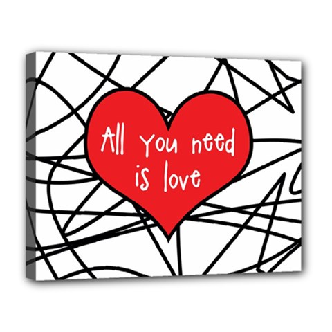 Love Abstract Heart Romance Shape Canvas 14  X 11