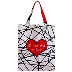 Love Abstract Heart Romance Shape Zipper Classic Tote Bag