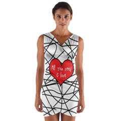 Love Abstract Heart Romance Shape Wrap Front Bodycon Dress