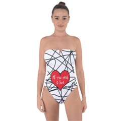 Love Abstract Heart Romance Shape Tie Back One Piece Swimsuit