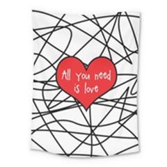 Love Abstract Heart Romance Shape Medium Tapestry