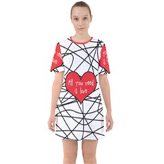 Love Abstract Heart Romance Shape Sixties Short Sleeve Mini Dress