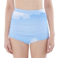 Sky Cloud Blue Texture High Waisted Bikini Bottoms