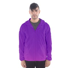 Halftone Background Pattern Purple Hooded Wind Breaker (men)