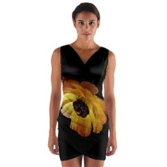 Ranunculus Yellow Orange Blossom Wrap Front Bodycon Dress