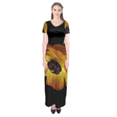 Ranunculus Yellow Orange Blossom Short Sleeve Maxi Dress