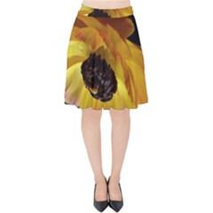 Ranunculus Yellow Orange Blossom Velvet High Waist Skirt
