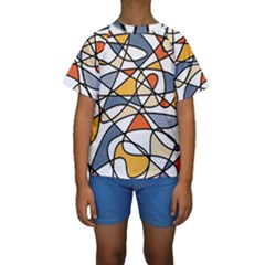 Abstract Background Abstract Kids  Short Sleeve Swimwear